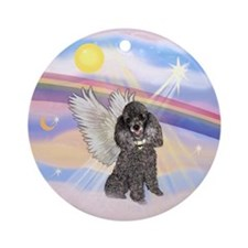 Silver Poodle Ornament (Round)