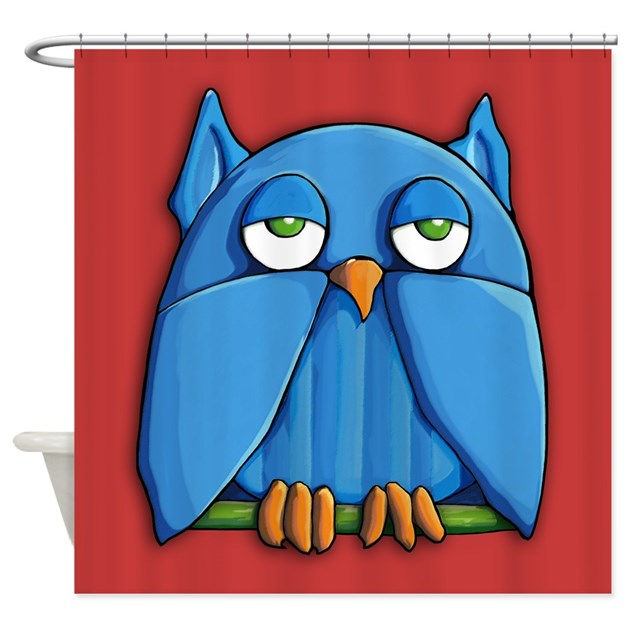 Aqua Owl Red Shower Curtain By Floatinglemons
