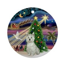 Xmas Magic Westie Ornament (Round)
