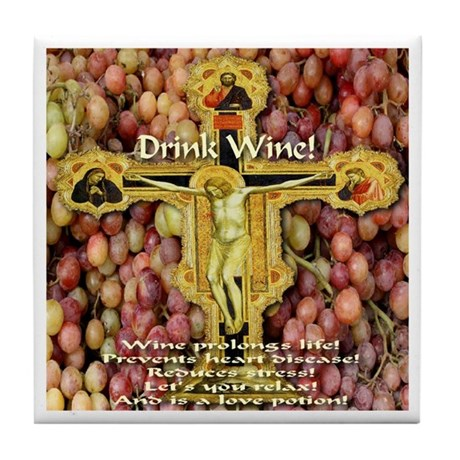 Drink Wine Tile Coaster