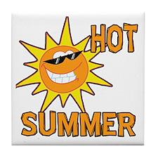 Hot Summer Sun Cartoon Tile Coaster