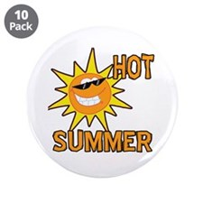 """Hot Summer Sun Cartoon 3.5"""" Button (10 pack)"""