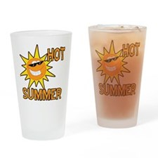 Hot Summer Sun Cartoon Drinking Glass