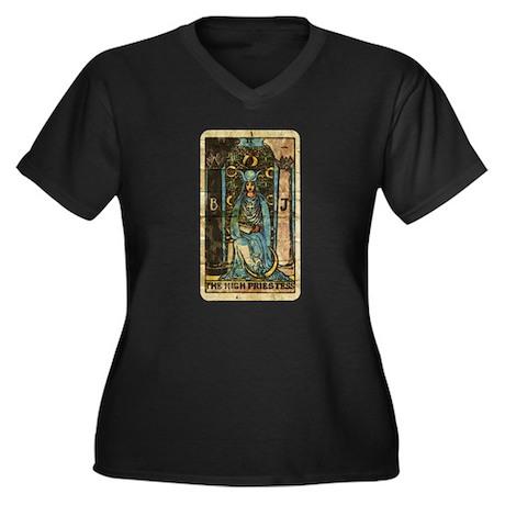 Nouveau Priestess Women's Plus Size V-Neck Dark T-