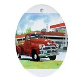 Antique truck Oval Ornaments