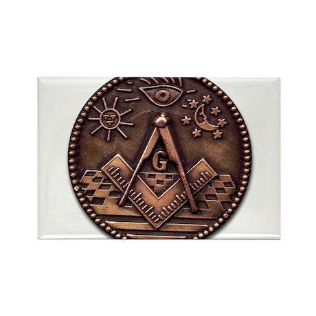 Bronze Freemasonry Rectangle Magnet (100 pack)