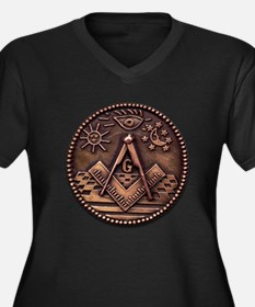 Bronze Freemasonry Women's Plus Size V-Neck Dark T