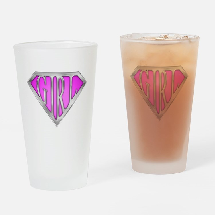 SuperGirl(Pink) Drinking Glass