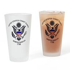 USCG Flag Emblem Drinking Glass