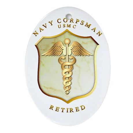 Corpsman USMC Retired Ornament (Oval)