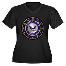 US Navy Veteran Women's Plus Size V-Neck Dark T-Sh