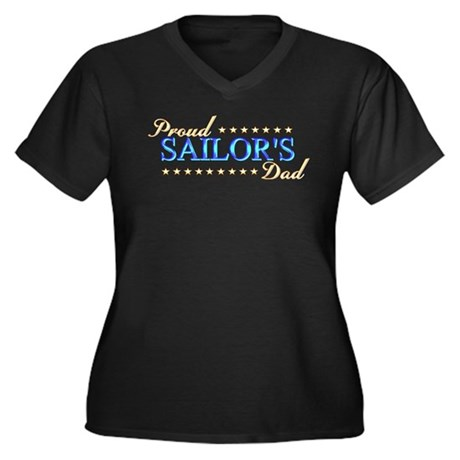 Sailor's Dad Women's Plus Size V-Neck Dark T-Shirt