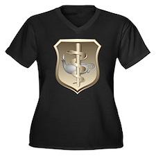 USAF Nurse Women's Plus Size V-Neck Dark T-Shirt