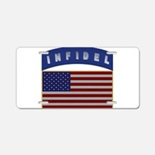 American Infidel Patch Aluminum License Plate