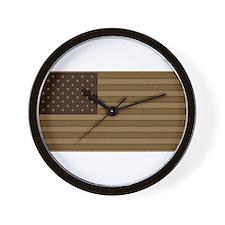 US Flag Desert Patch Wall Clock
