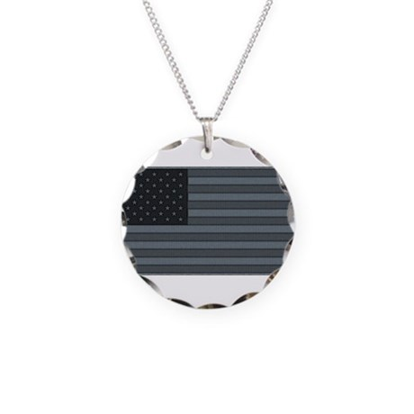 US Flag Urban Patch Necklace Circle Charm