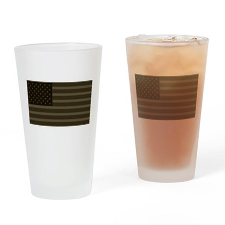 US Flag OD Patch Drinking Glass