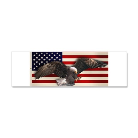 American Flag w/Eagle Car Magnet 10 x 3