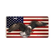 American Flag w/Eagle Aluminum License Plate