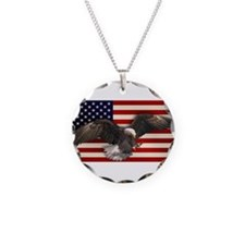 American Flag w/Eagle Necklace Circle Charm