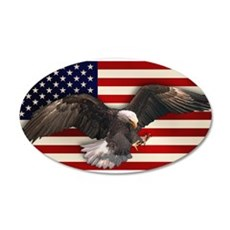 American Flag w/Eagle 22x14 Oval Wall Peel