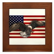 American Flag w/Eagle Framed Tile