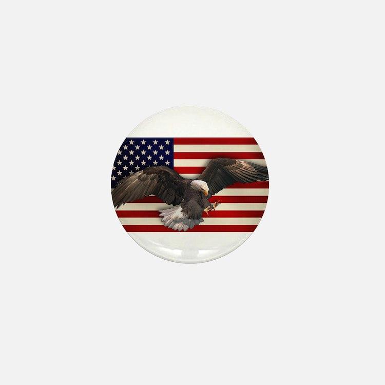 American Flag w/Eagle Mini Button
