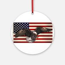 American Flag w/Eagle Ornament (Round)
