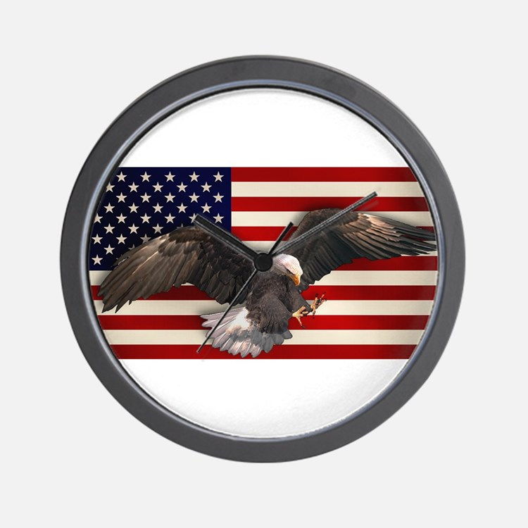 American Flag w/Eagle Wall Clock