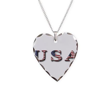 USA Necklace Heart Charm