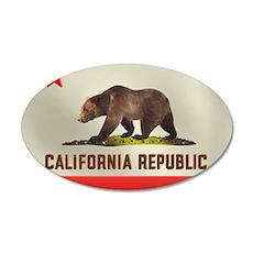 California Bear Flag 22x14 Oval Wall Peel