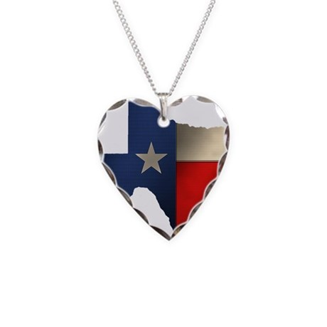State of Texas Necklace Heart Charm