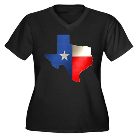 State of Texas Women's Plus Size V-Neck Dark T-Shi
