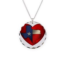 Texas Heart Necklace Circle Charm