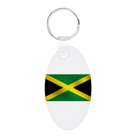Jamaican Flag Aluminum Oval Keychain