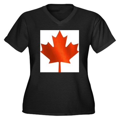 Canadian Maple Leaf Women's Plus Size V-Neck Dark