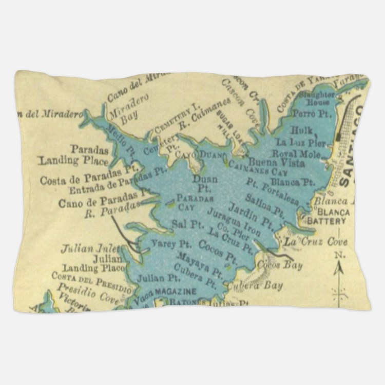 Vintage Map of Santiago de Cuba (1898) Pillow Case