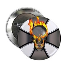 "Flaming Skull 2.25"" Button"