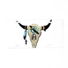 Steer Skull Aluminum License Plate