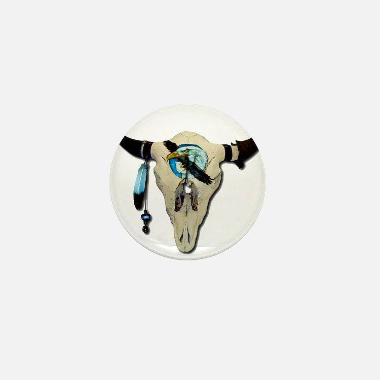 Steer Skull Mini Button
