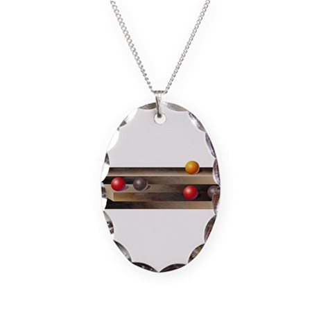 Optical Shelves Necklace Oval Charm