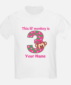 3rd Birthday Girl Monkey T-Shirt