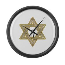 Gold Star of David Large Wall Clock