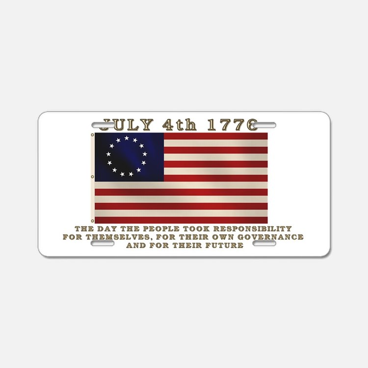 July 4th Flag Aluminum License Plate