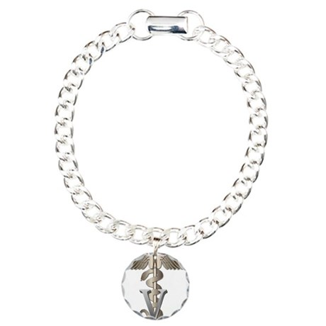 Veterinary Caduceus Charm Bracelet, One Charm
