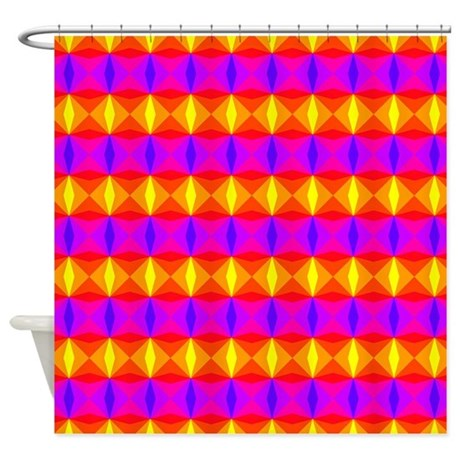 Yellow Red Purple Diamonds Shower Curtain By DecorativeStuff