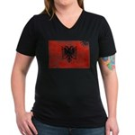 Albania Flag Women's V-Neck Dark T-Shirt