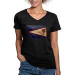 American Samoa Flag Women's V-Neck Dark T-Shirt