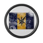 Barbados Flag Large Wall Clock