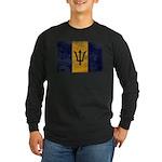 Barbados Flag Long Sleeve Dark T-Shirt